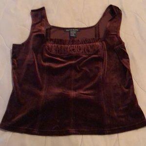Velvet brown short top NWOT